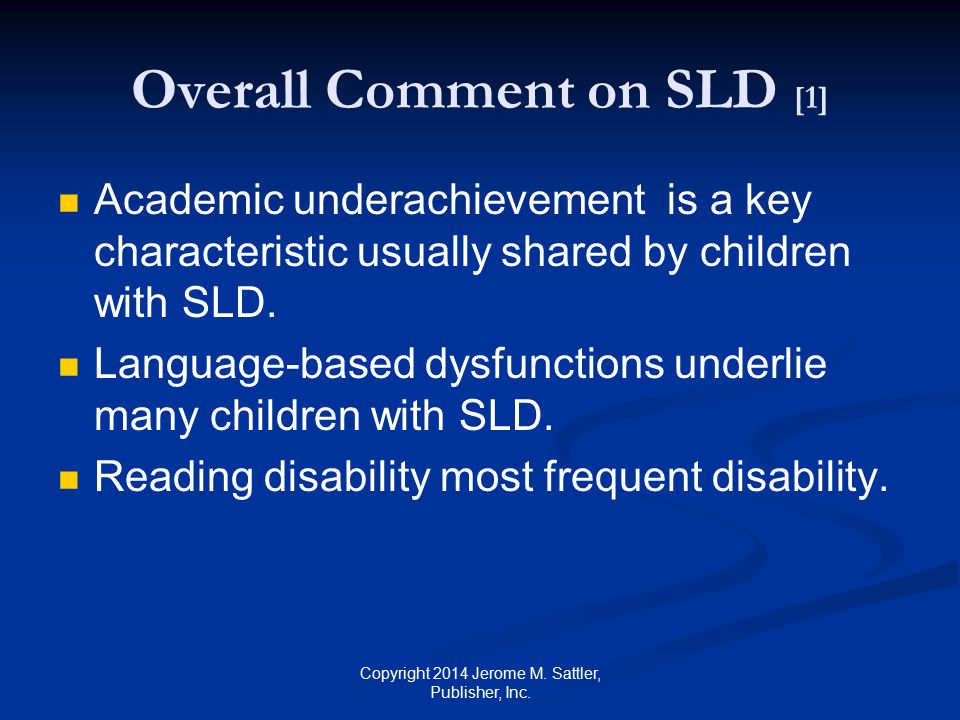 Overall Comment on SLD [1]